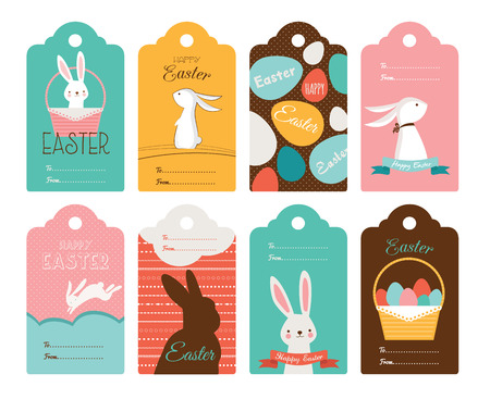easter egg hunt: Easter tag collection  with bunnies and Easter eggs. Happy Easter