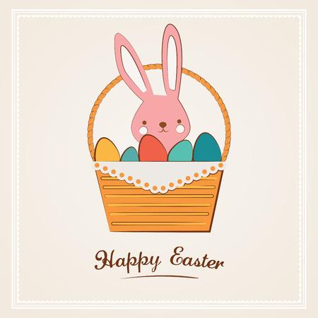 easter basket: Easter bunny with Easter basket  full of Easter eggs Illustration