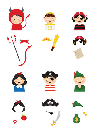 props: kids wearing different costumes. professions, animals and princesses . vector illustration