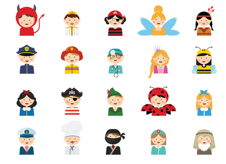 disguise: kids wearing different costumes. professions, animals and princesses . vector illustration