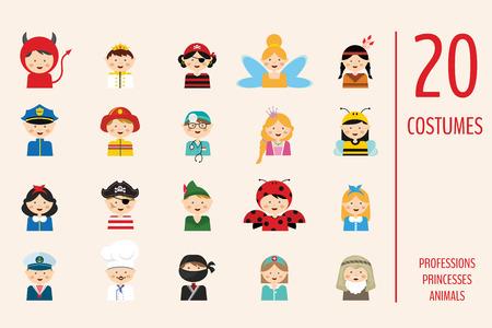 Kinder Verschiedene Kostüme Zu Tragen. Berufe, Tiere Und ...