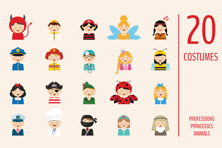 kids wearing different costumes. professions, animals and princesses . vector illustration