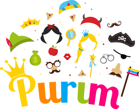 Jewish holiday Purim  set of costume accessories. happy purim in hebrew Imagens - 52987778