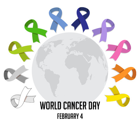 World cancer day. colorful  awareness ribbons isolated over white background. vector Vectores