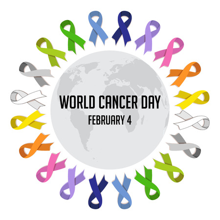 World cancer day. colorful  awareness ribbons isolated over white background. vector Ilustração