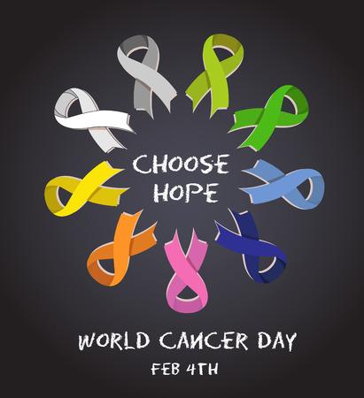 Giornata mondiale del cancro. nastri di consapevolezza colorati isolato su sfondo bianco. vettore Vettoriali
