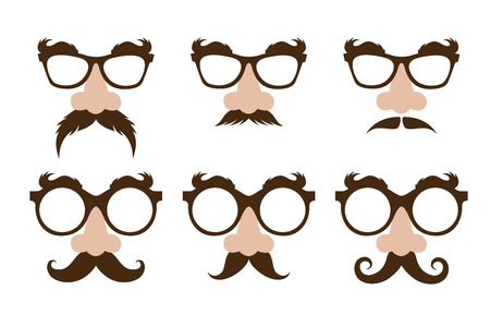 eyebrow: closeup of a fake nose  and  glasses, with mustache and furry eyebrows Illustration