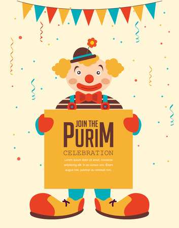 clown cirque: Pourim heureux, vacances juives. clown, affiche de voeux tenant Illustration