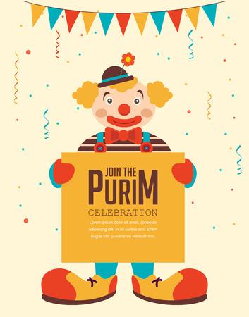 payaso: Purim feliz, día de fiesta judío. cartel de felicitación de la celebración de payaso