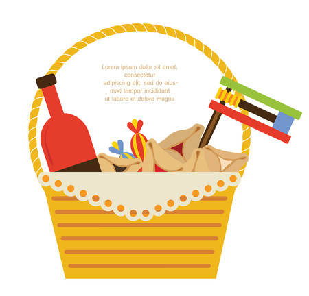gift basket: Purim holiday gifts  with hamantaschen cookies and candy Illustration