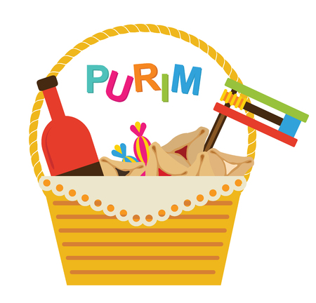 purim mask: Purim holiday gifts  with hamantaschen cookies and candy Illustration
