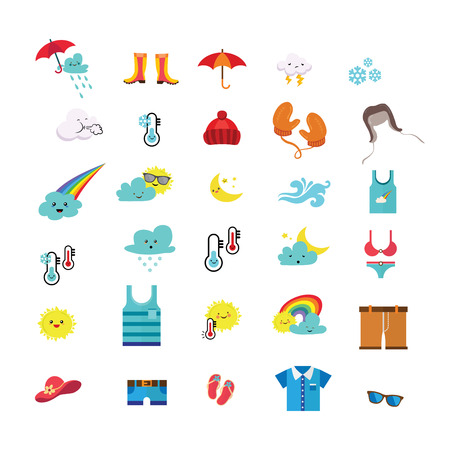 weather icons and seasonal clothes. vector illustration