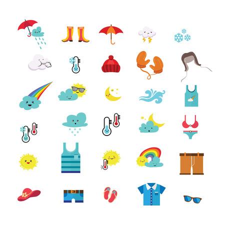 天气图标和季节性衣服。矢量图