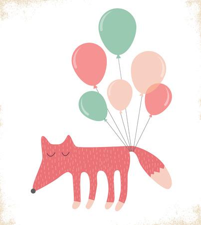 illustratio: cute fox with balloons. greeting card. illustratio