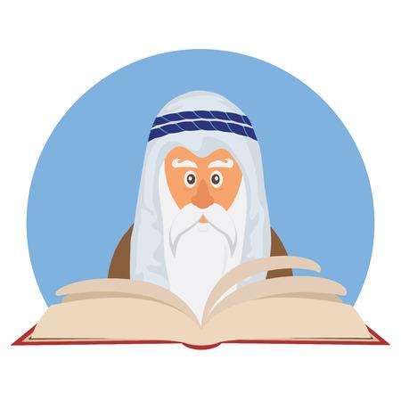 ancient israel: Moses reading  Passover Haggadah . happy Jewish holiday