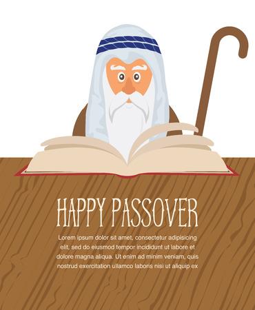 seder: Moses reading  Passover Haggadah . happy Jewish holiday