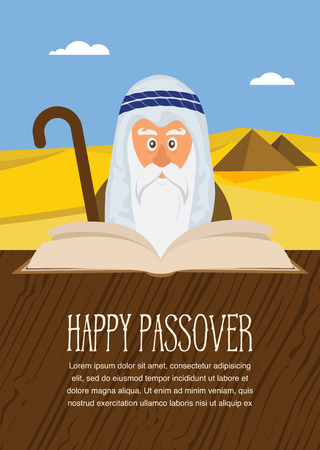 matza: Moses reading  Passover Haggadah on Egypt background