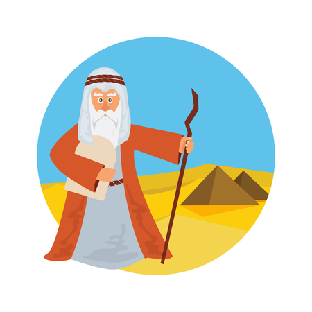 splitting: Moses Splitting The Sea - Moses splitting the red sea with the Israelite leaving Egypt Illustration