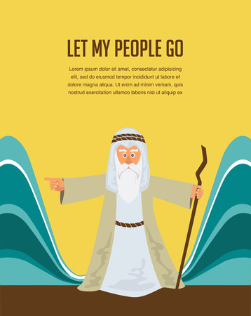 to go: Moses Splitting The Sea - Moses splitting the red sea with the Israelite leaving Egypt Illustration