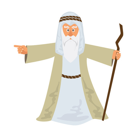 Vector illustration of Moses standing for Passover. vector illustration Vettoriali