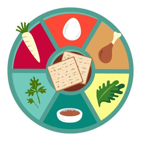 pesaj: iconos planos del Seder de Pascua. feliz fiesta jud�a de Pesaj