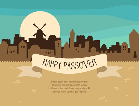 jerusalem: Happy Passover greeting card  design with Jerusalem city skyline. Vector illustration