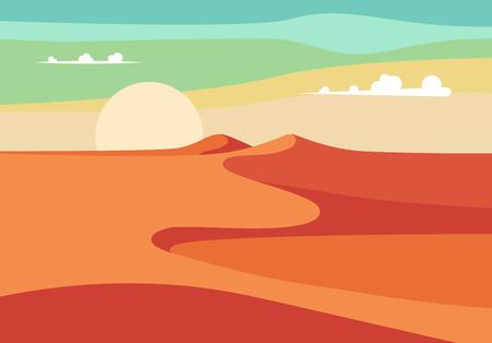 Groep mensen met kamelen Caravan Rijden in Realistische Wide Desert Sands in het Midden-Oosten. Bewerkbare vector illustratie