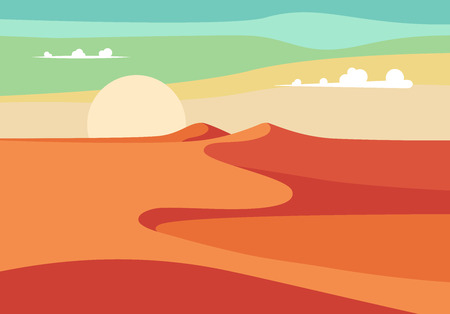 person walking: Group of People with Camels Caravan Riding in Realistic Wide Desert Sands in Middle East.  Editable Vector Illustration
