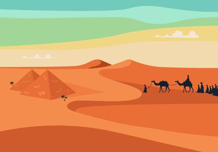 Gruppe mit Kamelen Caravan Reiten im Realistic Weit Desert Sands in Ägypten Menschen. Editierbare Vektor-Illustration Standard-Bild - 54797901