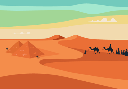 Group of People with Camels Caravan Riding in Realistic Wide Desert Sands in Egypt.  Editable Vector Illustration
