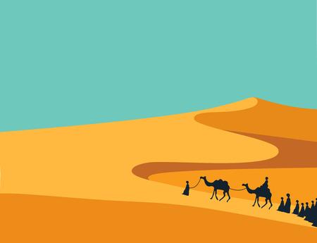 中東における現実的な広い砂漠砂に乗るラクダ キャラバンを持つ人々 のグループ。 編集可能なベクトル図