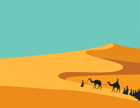 Group of People with Camels Caravan Riding in Realistic Wide Desert Sands in Middle East.  Editable Vector Illustration Stock fotó - 54797902