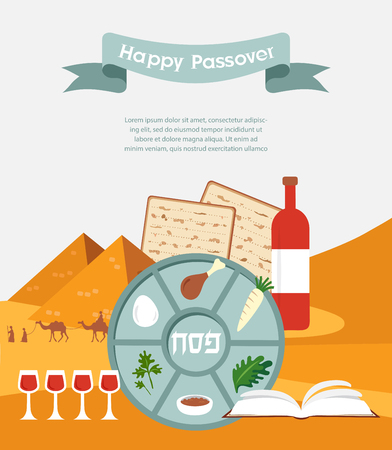 traditional celebrations: Passover seder plate with flat trasitional  icons over a desert background