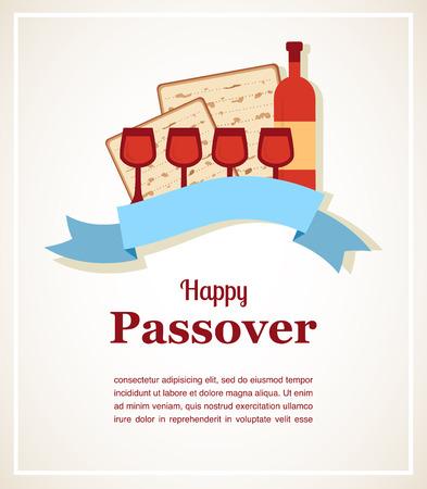 pesach: Jewish passover holiday  greeting card design. Vector illustration Illustration