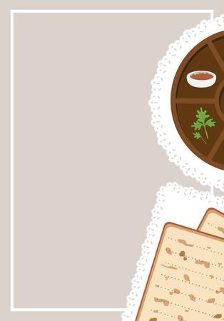 pesaj: la cena de la Pascua, Seder de Pesaj. mesa con placa de pascua y comida tradicional Vectores