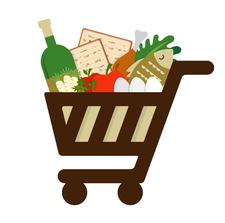 seder plate: shopping cart filled in  with traditional food for passover holiday