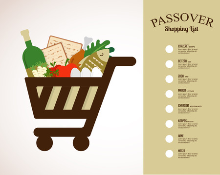 shopping cart filled in  with traditional food for passover holiday. shopping list Ilustracja