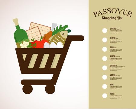 Warenkorb gefüllt mit traditionellen Speisen für Passah Urlaub in. Einkaufsliste Standard-Bild - 54797970