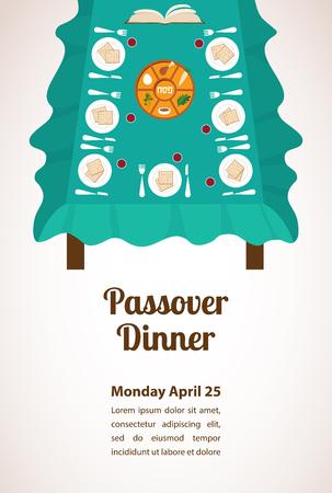 Pesach diner, seder pesach. tafel met passover plaat en traditionele gerechten Stock Illustratie