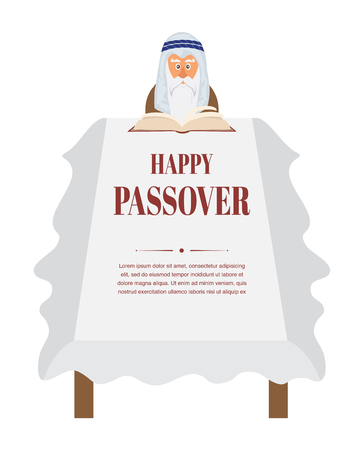 seyder: Passover dinner table.  Moses reading Haggadah. vector illustration Illustration