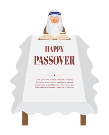 seder plate: Passover dinner table.  Moses reading Haggadah. vector illustration Illustration