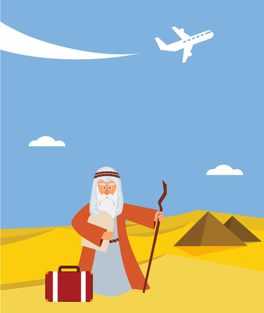 pesach: time for passover  vacation in Hebrew. moses with torah and suitcase