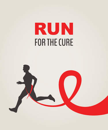 hiv aids: Sport Man Running Red Ribbon, AIDS  Awareness. RUN FOR CURE