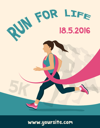cancer foot: Sport Woman with Running Pink Ribbon, Breast Cancer Awareness. poster for running  competition