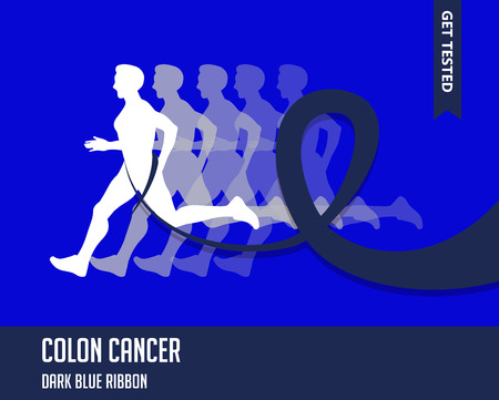 colon cancer: Sport Man with Running Blue Ribbon, Colon  Cancer Awareness.