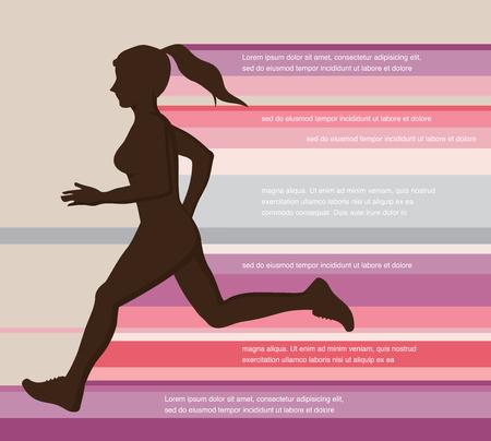 woman running,  jogging - colorful illustration. colorful poster design Illustration