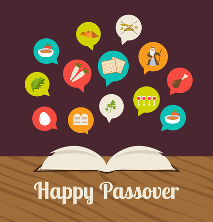 passover hagadah with traditional icons. happy pesach