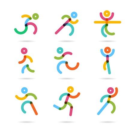 caminando: Correr Maratón coloridos iconos y símbolos Vectores