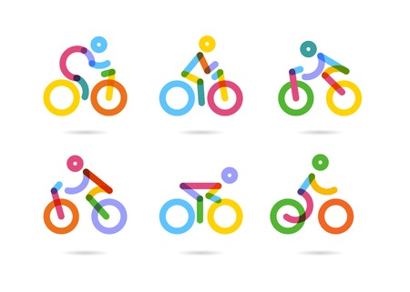Ciclismo y bicicletas iconos de colores. ilustración vectorial Foto de archivo - 54789792