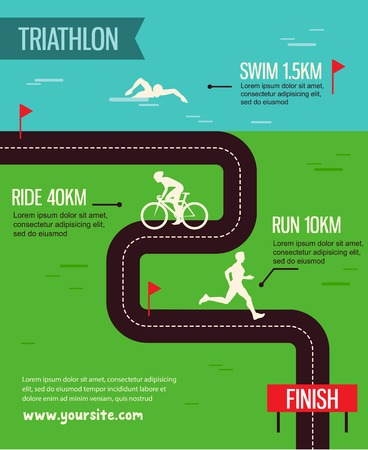 A vector illustration of triathlon sport for sport competition series 일러스트